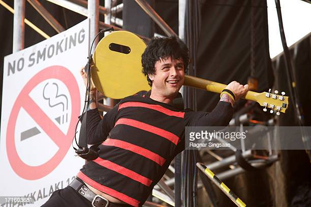 Billie Joe Armstrong of Green Day performs on stage headlining on Day 1 of Rock The Beach Festival on June 26 2013 in Helsinki Finland