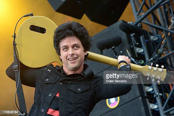Billie Joe Armstrong of Green Day performs on stage on Day 3 of Pinkpop Festival 2013 on June 16 2013 in Landgraaf Netherlands