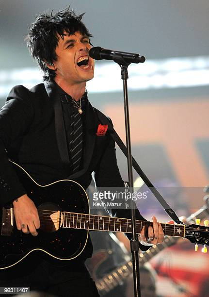 Billie Joe Armstrong of Green Day performs onstage at the 52nd Annual GRAMMY Awards held at Staples Center on January 31 2010 in Los Angeles...