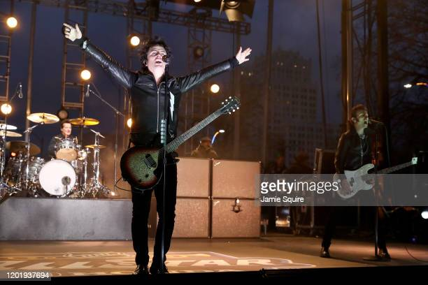 Billie Joe Armstrong of Green Day performs onstage prior to the 2020 Honda NHL AllStar Game at Enterprise Center on January 25 2020 in St Louis...