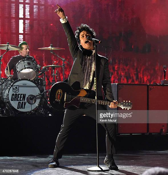 Billie Joe Armstrong performs onstage during the 30th Annual Rock And Roll Hall Of Fame Induction Ceremony at Public Hall on April 18 2015 in...