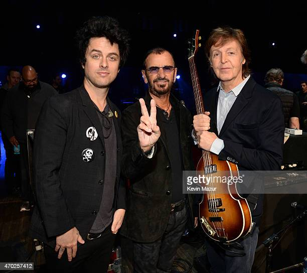 Billie Joe Armstrong Ringo Starr and Paul McCartney attend the 30th Annual Rock And Roll Hall Of Fame Induction Ceremony at Public Hall on April 18...