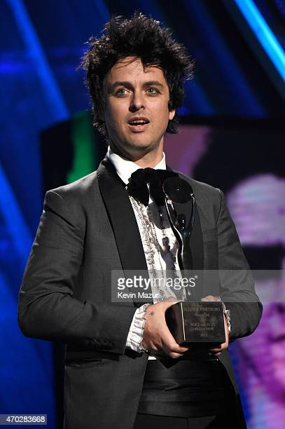 Billie Joe Armstrong speaks onstage during the 30th Annual Rock And Roll Hall Of Fame Induction Ceremony at Public Hall on April 18 2015 in Cleveland...