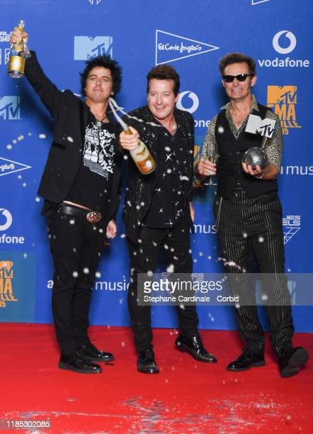 Billie Joe Armstrong Tre Cool and Mike Dirnt from Green Day with the Best Rock Award in the winner room during the MTV EMAs 2019 at FIBES Conference...