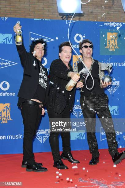 Billie Joe Armstrong Tre Cool and Mike Dirnt of Green Day in the winners room during the MTV EMAs 2019 at FIBES Conference and Exhibition Centre on...