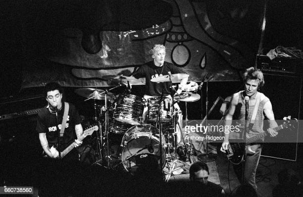 Billie Joe Armstrong Tre Cool and Mike Dirnt of Green Day perform on stage at Paradise Lounge in San Francisco California USA on 16th February 1994