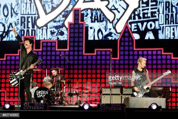 Billie Joe Armstrong Tre Cool and Mike Dirnt of Green Day perform during the 2017 Global Citizen Festival at The Great Lawn of Central Park on...