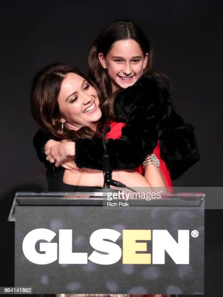 Billie Lourd and Ava Bozzi speak onstage during the 2017 GLSEN Respect Awards at the Beverly Wilshire Hotel on October 20 2017 in Los Angeles...