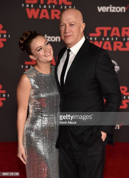 Billie Lourd and Bryan Lourd attend the premiere of Disney Pictures and Lucasfilm's Star Wars The Last Jedi at The Shrine Auditorium on December 9...