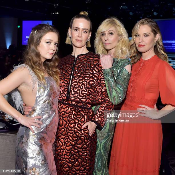 Billie Lourd Sarah Paulson Judith Light and Leslie Grossman pose onstage during The 21st CDGA at The Beverly Hilton Hotel on February 19 2019 in...