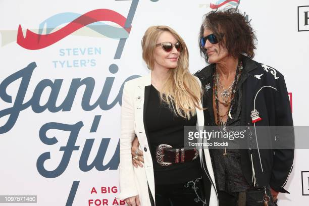 Billie Paulette Montgomery and Joe Perry attend Steven Tyler's Second Annual GRAMMY Awards Viewing Party to benefit Janie's Fund presented by Live...