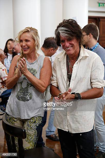 Billie Paulette Montgomery and Joe Perry from The Hollywood Vampires attend the Starkey Hearing Foundation event to support and benefit people in...