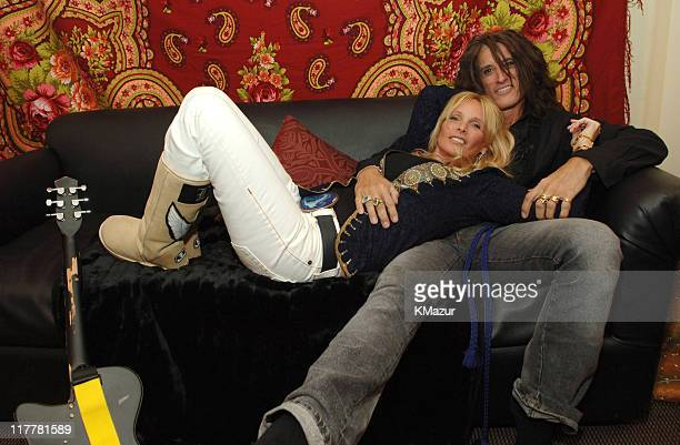 Billie Perry and Joe Perry of Aerosmith during Aerosmith in Concert at Staples Center in Los Angeles Backstage and Rehearsals February 22 2006 at...