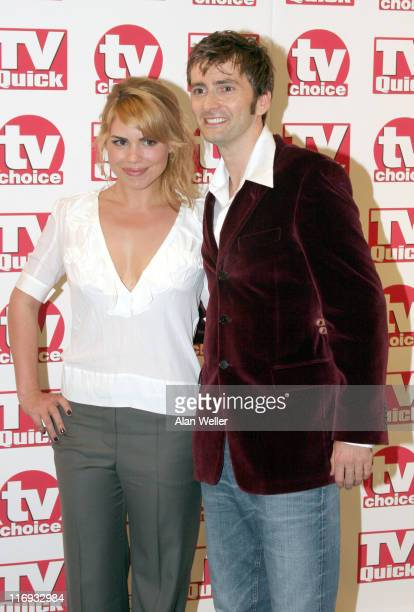 Billie Piper and David Tennant during TV Quick Awards & TV Choice Awards - Inside Arrivals at The Dorchester in London, Great Britain.