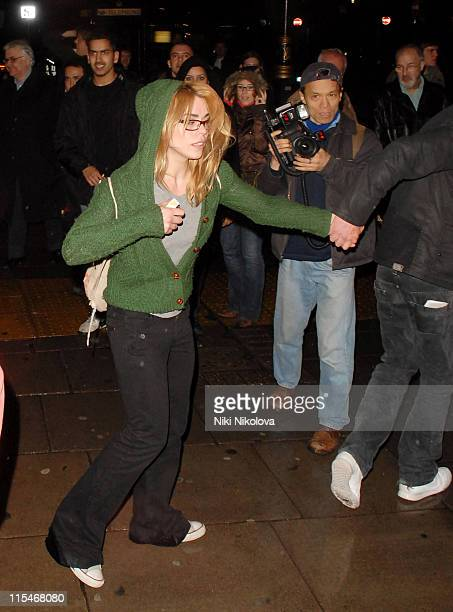 Billie Piper and Laurence Fox during Billie Piper Sighting Leaving the Garrick Theatre in London March 5 2007 at Garrick Theatre in London Great...