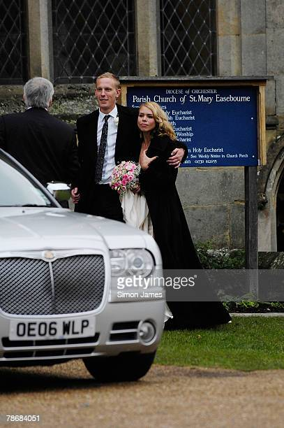 Billie Piper and Laurence Fox leave the Parish Church of St. Mary after their wedding on December 31, 2007 in Easebourne, West Sussex, England.