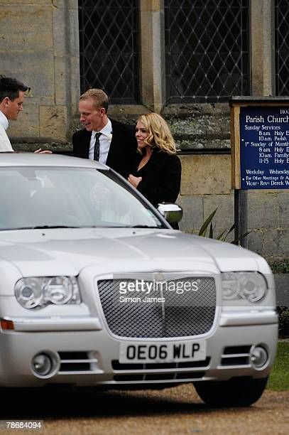 Billie Piper and Laurence Fox leave the Parish Church of St Mary after their wedding on December 31 2007 in Easebourne West Sussex England