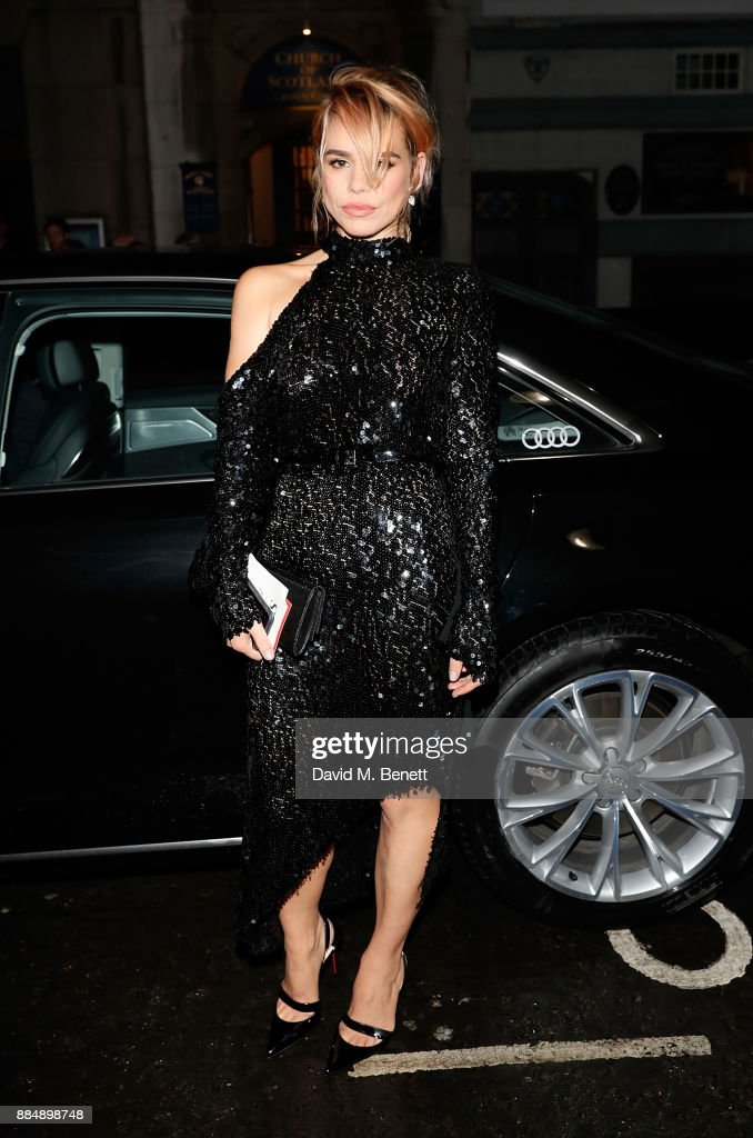 Billie Piper arrives in an Audi at the Evening Standard Theatre Awards at Theatre Royal on December 3, 2017 in London, England.