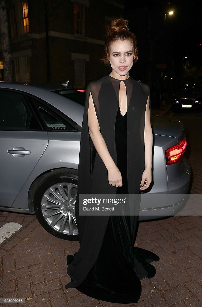 Billie Piper arrives in an Audi at The London Evening Standard Theatre Awards at The Old Vic Theatre on November 13, 2016 in London, England.