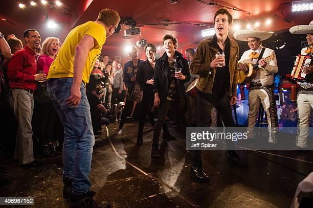 Billie Piper Chris Evans Tristan Evans Brad Simpson Connor Ball James Daniel McVey during a live broadcast of 'TFI Friday' on November 27 2015 in...