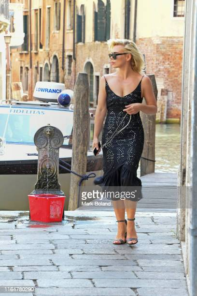 "Billie Piper is seen walking in Venice where she is screening her new film ""Rare Beasts"" which she wrote, directed and starred in, at the Venice Film..."