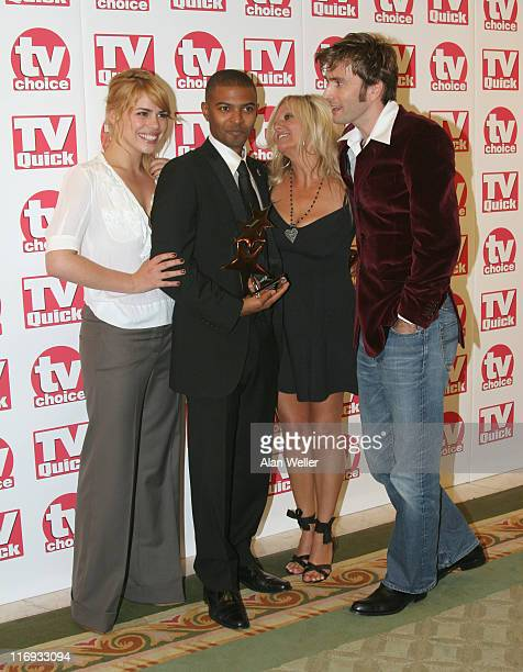 Billie Piper Noel Clarke Camille Coduri and David Tennant with award for best loved Drama Doctor Who
