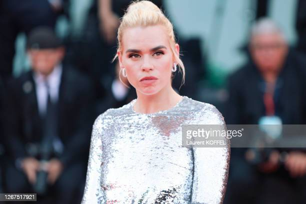 """Billie Piper walks the red carpet ahead of the """"Marriage Story"""" screening during the 76th Venice Film Festival at Sala Grande on August 29, 2019 in..."""
