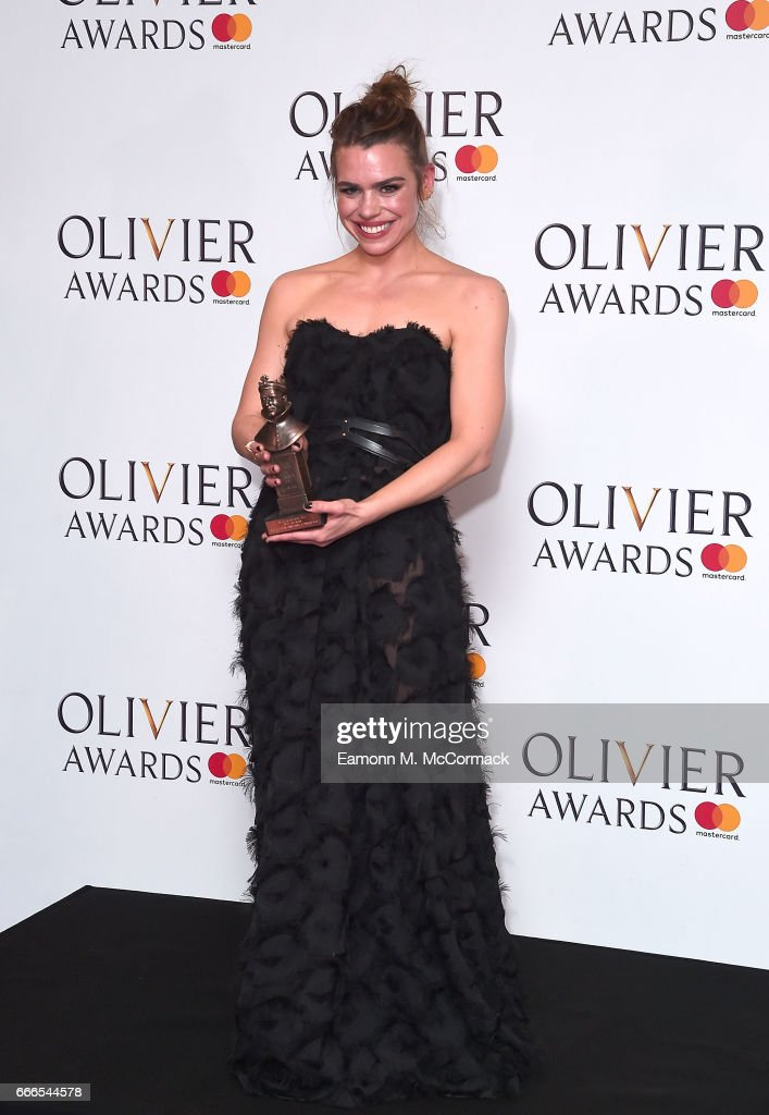 Billie Piper, winner of Best Actress for 'Yerma', poses in the winners room at The Olivier Awards 2017 at Royal Albert Hall on April 9, 2017 in London, England.
