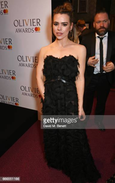 Billie Piper winner of the Best Actress in a Play award for 'Yerma' poses in the winners room at The Olivier Awards 2017 at Royal Albert Hall on...