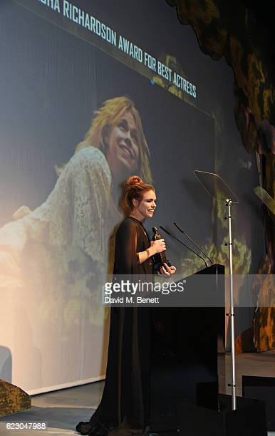 Billie Piper, winner of the Natasha Richardson Award for Best Actress, speaks onstage at the 62nd London Evening Standard Theatre Awards, recognising...