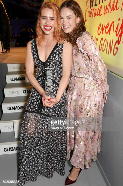 Billie Piper winner of the Shiseido Group Theatre Award and presenter Lily James attend the Glamour Women of The Year Awards 2017 in Berkeley Square...