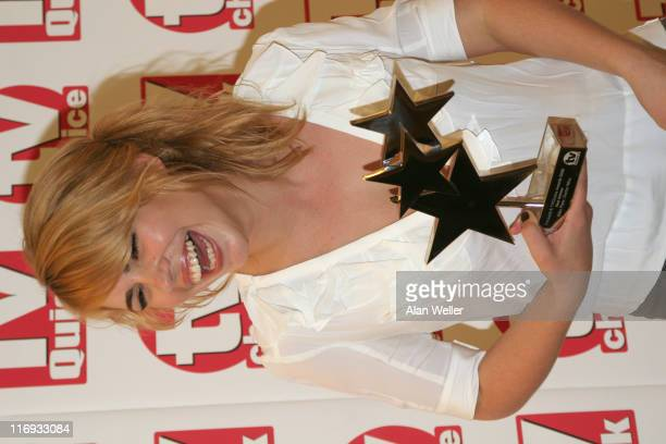 Billie Piper wins best actress award during TV Quick and TV Choice Awards Press Room at The Dorchester in London Great Britain