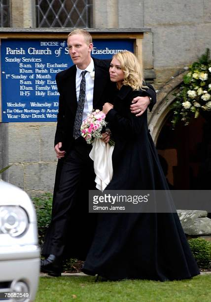 Billie Piper with husband Laurence Fox leave the Parish Church of St. Mary on December 31, 2007 in Easebourne, West Sussex, England.