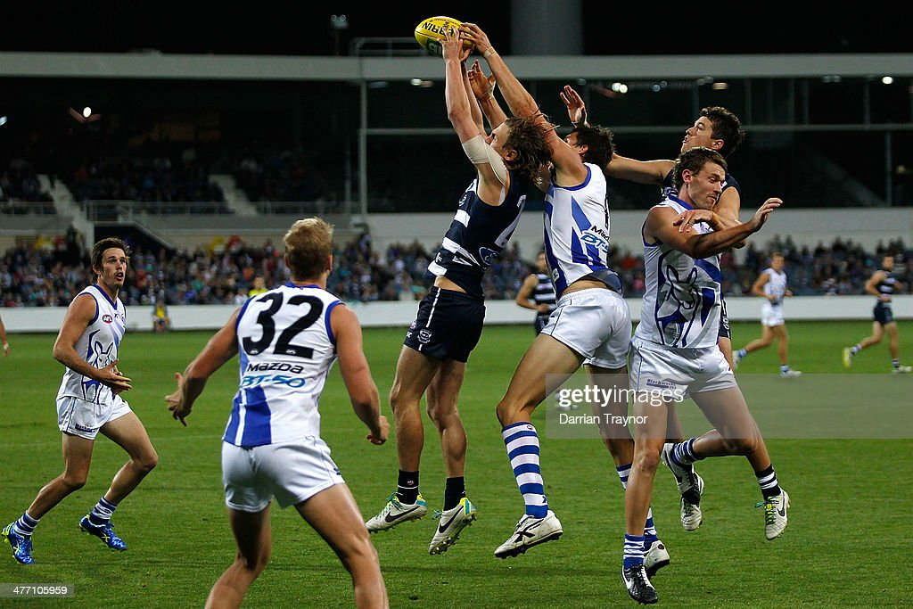 Billie Smedts of Geelong takes a mark during the AFL Practice Match between the Geelong Cats and the North Melbourne Kangaroos at Simonds Stadium on March 7, 2014 in Geelong, Australia.
