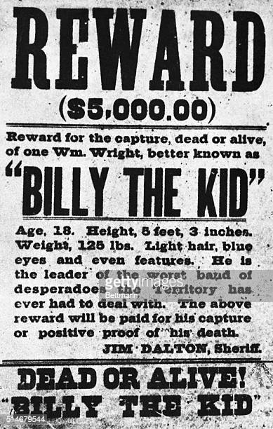 Billie the Kid wanted 'poster' in the 1870's