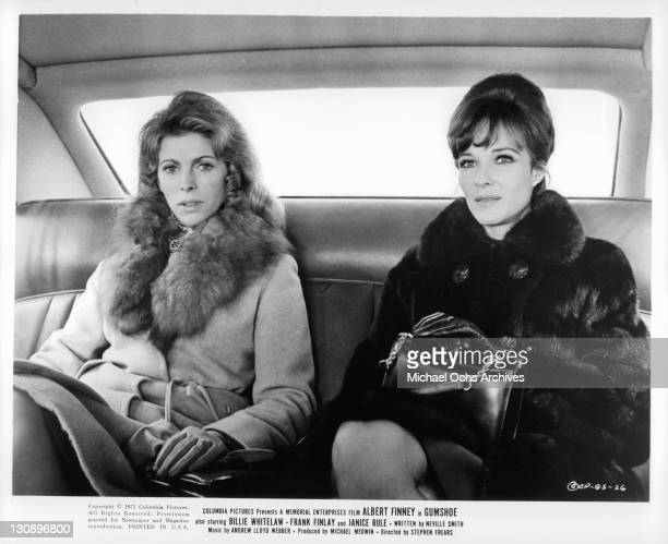 Billie Whitelaw and Janice Rule sit in the getaway car together in a scene from the film 'Gumshoe' 1971