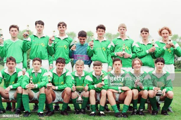 Billingham Synthonia U16 Football Club Photocall with cups and trophies after hat trick of wins including the Teesside Lions League The Durham Cup...