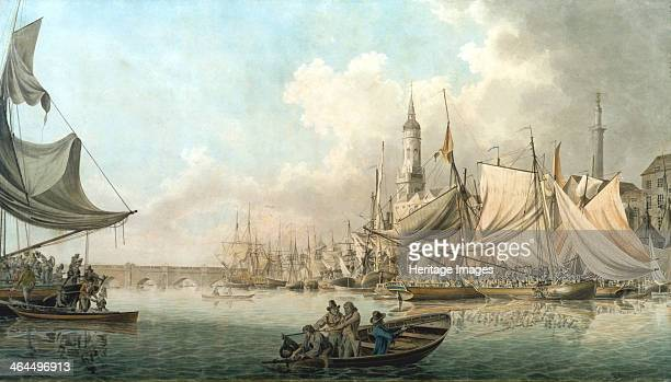 'Billingsgate at High Water' 1792 View with figures in boats on the River Thames