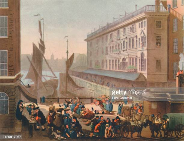'Billingsgate Fish Market' View of the 'old' openair fish market on the banks of the River Thames in the City of London Fresh fish was landed and...