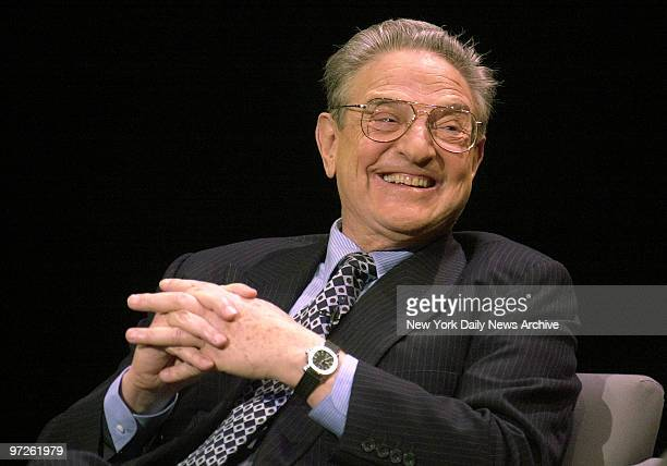 Billioinaire financier George Soros chairman of Soros Fund Management discusses global capitalism during an appearance with PBS talkshow host Charlie...
