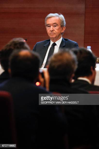 Group chief executive officer Bernard Arnault looks on during a press conference on April 25 2017 in Paris after the group announced that it planned...