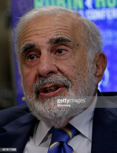 Billionaire activist investor Carl Icahn speaks during a Bloomberg Television interview at the Robin Hood Investors Conference in New York US on...