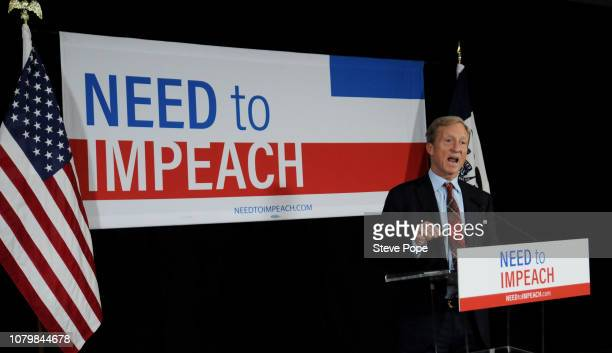 Billionaire Activist Tom Steyer speaks to supporters on January 9 2019 in Des Moines Iowa Steyer announced that he would not run for president in...