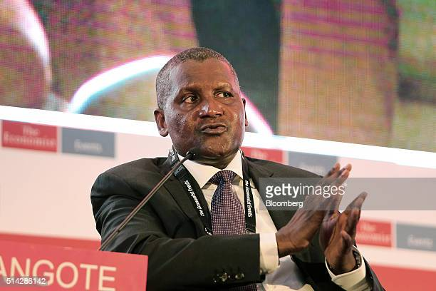 Billionaire Aliko Dangote president and chief executive officer of Dangote Group takes part in a panel session at The Economist Nigeria Summit in...
