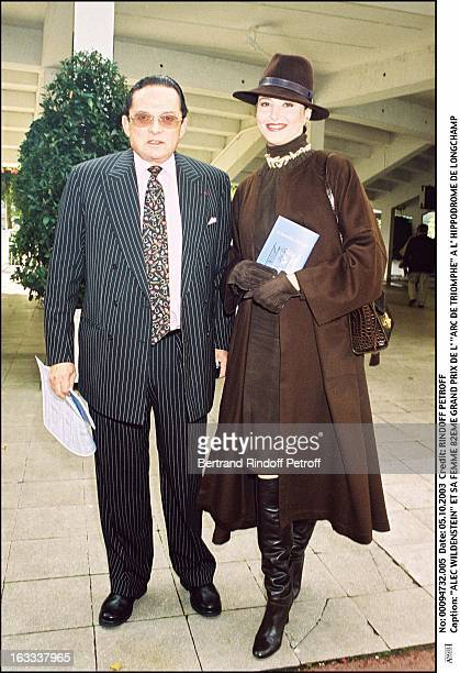 Billionaire art dealer Alec Wildenstein with his second wife Liouba at the 82nd Grand Prix of the Arc De Triomphe at the racecourse of Longchamp