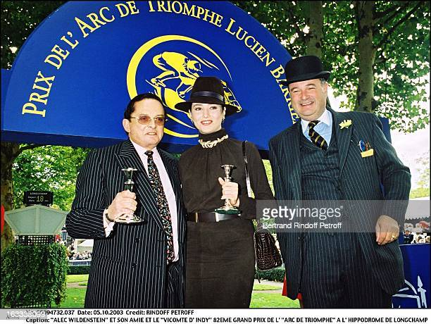 Billionaire art dealer Alec Wildenstein with his second wife Liouba and Le Vicomte D' Indy 82nd Grand Prix of the Arc De Triomphe at the racecourse...