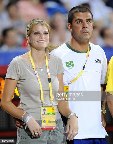 Billionaire Athina Roussel Onassis and her husband Brazilian rider Alvaro Afonso de Miranda Neto attend the Equestrian Jumping Individual competition...