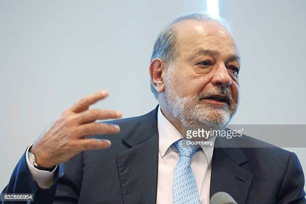 Billionaire Carlos Slim chairman emeritus of America Movil SAB and Telefonos de Mexico SAB speaks during a news conference in Mexico City Mexico on...