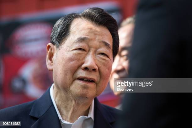 Billionaire Dhanin Chearavanont chairman of Charoen Pokphand Group attends a news conference at the US Ambassador's residence in Bangkok Thailand on...