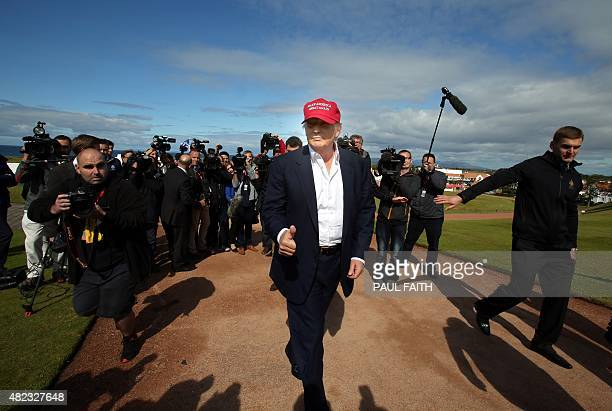 US billionaire Donald Trump is pictured as he arrives at the Women's British Open Golf Championships in Turnberry Scotland on July 30 2015 AFP PHOTO...